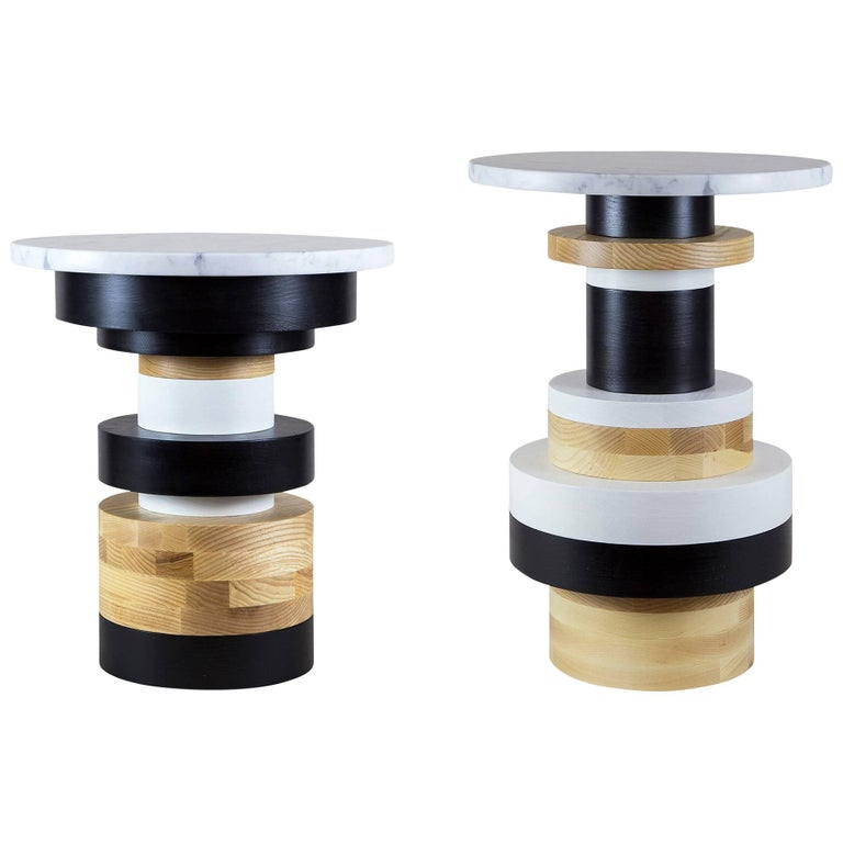 Customizable Sass Side Table Pair from Souda, Short and Tall, Made to Order For Sale