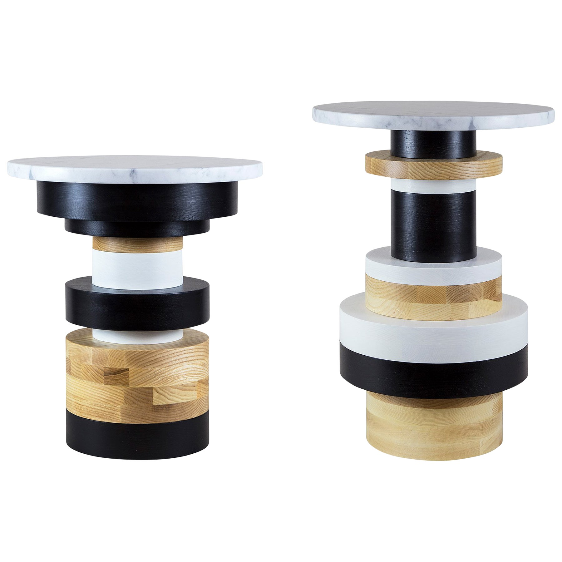 Customizable Sass Side Table Pair from Souda, Short and Tall, Made to Order