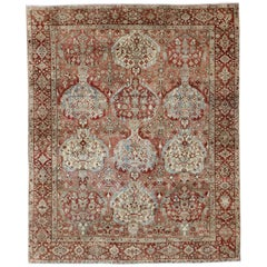 Antique Persian Large Bakhtiari Rug with Tiered Sub-Geometric Medallions