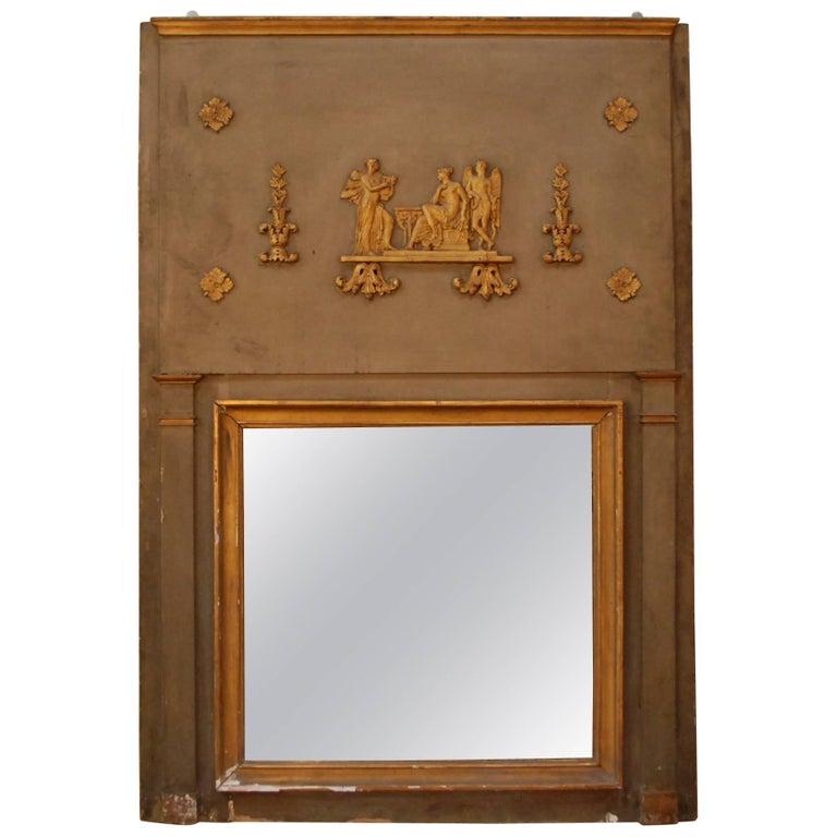 19th Century, French Trumeau Mirror