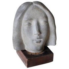 Art Deco Granite Woman's Head, circa 1930s