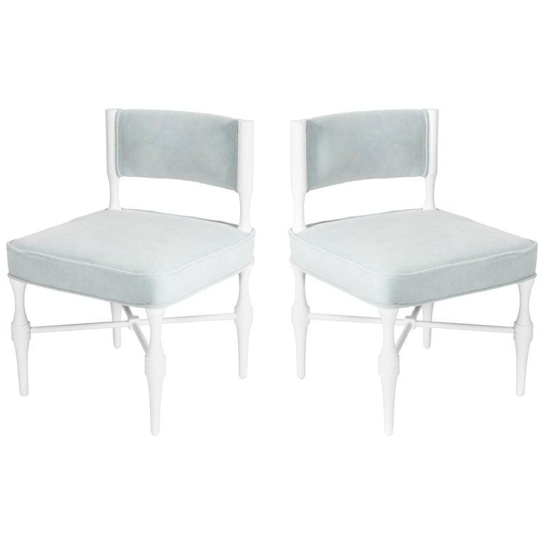 Pair of Tommi Parzinger Petite Slipper or Vanity Chairs