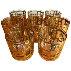 Eight Mid-Century Modern Rock Glasses by Culver