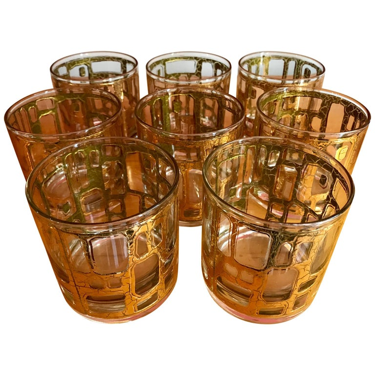 Eight Mid-Century Modern Rock Glasses by Culver For Sale