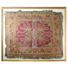 Framed Antique European Silk Tapestry/Bed Spread with Ornate Design in Gold Tone