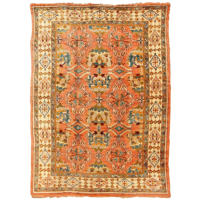 Antique Tribal Design Turkish Oushak Rug With Terra Cotta