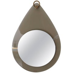 Free Form Glass and Brass Mirror in the Manner of Fontana Arte, Italy, 1960s
