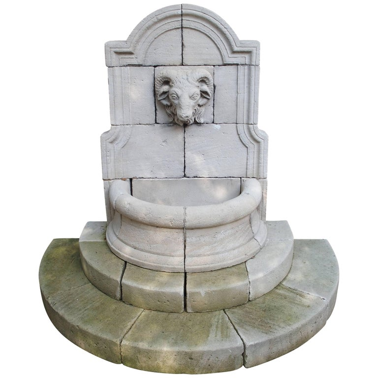 Carved Limestone Ram's Head Wall Fountain from France