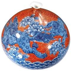 Japanese Ovoid Red and Blue Imari Porcelain Vase by Master Artist
