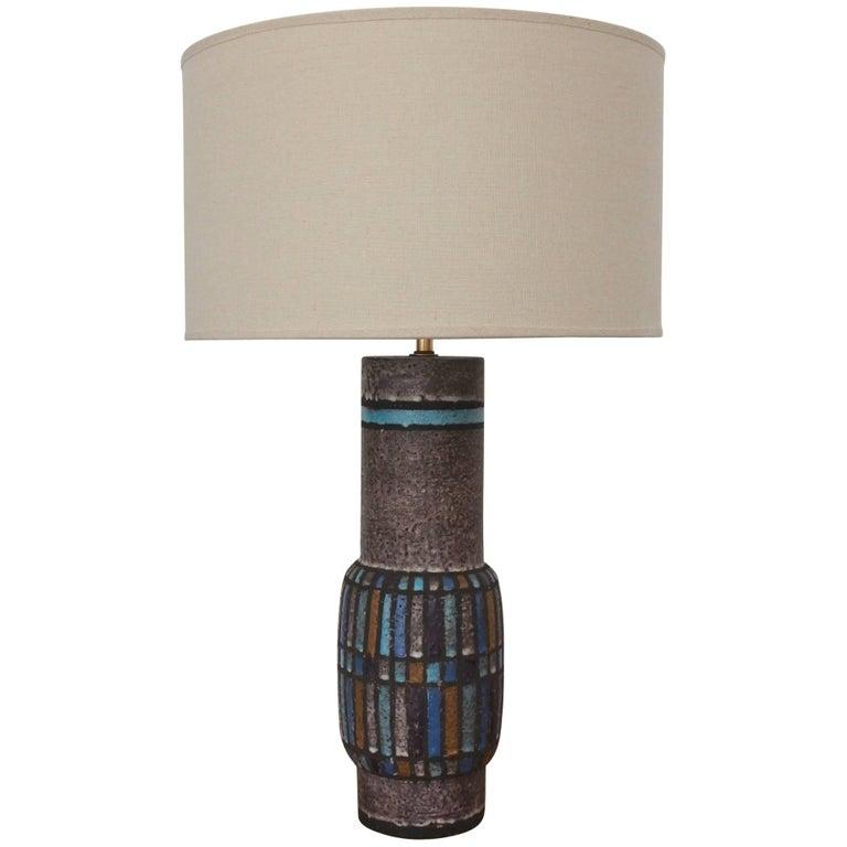 Midcentury Aldo Londi for Bitossi Ceramic Table Lamp, Italy