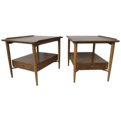Finn Juhl Styled Wooden Mahogany End / Side Tables or Nightstands by Morganton