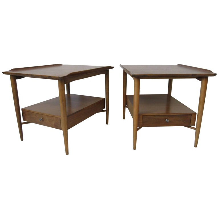 Finn Juhl Styled Mahogany End Tables by Morganton