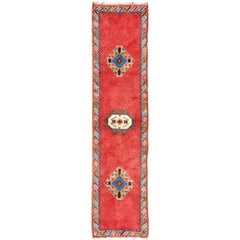 Vintage Moroccan Runner with Red Field, Three Tribal Medallions, Colorful Border