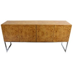 Vintage Milo Baughman for Thayer Coggin Burl and Chrome Credenza, Signed
