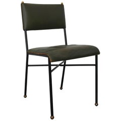Jacques Adnet Stitched Leather Metal and Brass Occasional Chair, France, 1960s