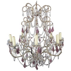 Eight-Light Crystal Beaded Amethyst Chandelier