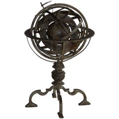 Vintage English Brass Armillary Astrolabe Globe