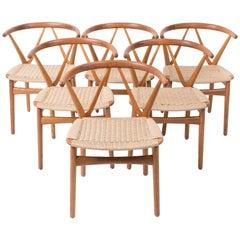 Set of Six Model 255 Teak Dining Chairs by Henning Kjærnulf for Bruno Hansen