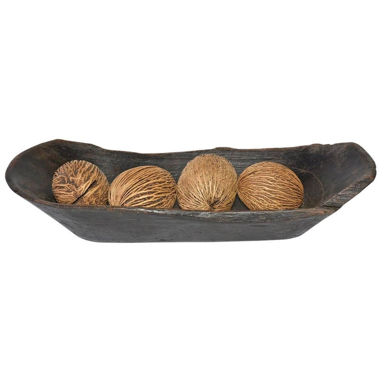 Wooden Antique Bowl with Decorative Balls For Sale