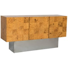 Rare Milo Baughman for Thayer Coggin Olive Burl Credenza Raised on Chrome Plinth