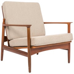 Ib Kofod Larsen Reclining Lounge Chair with Cut Out Detail for Selig
