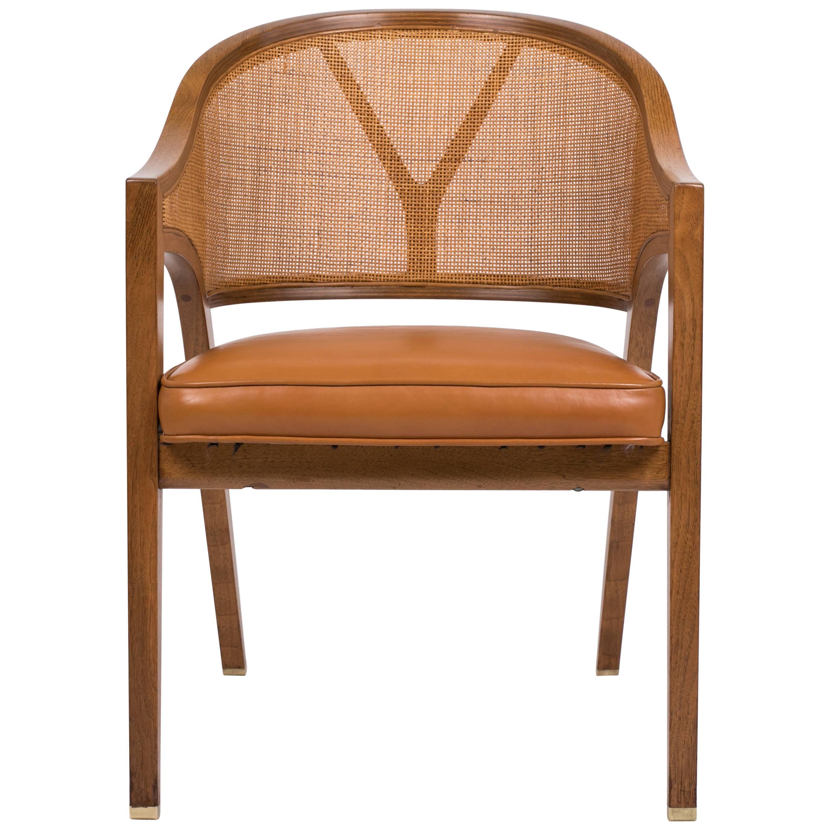 edward wormley for dunbar yback captain chair in woven cane and walnut