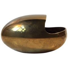 Danish Modernist Solid Brass Ashtray 'the Smile' by Carl Cohr, 1950s