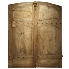 Pair of Antique French Oak Doors from Burgundy, 1700s