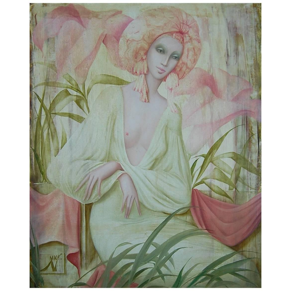 Beautiful Oil Painting Of A Woman By Philippe Augé