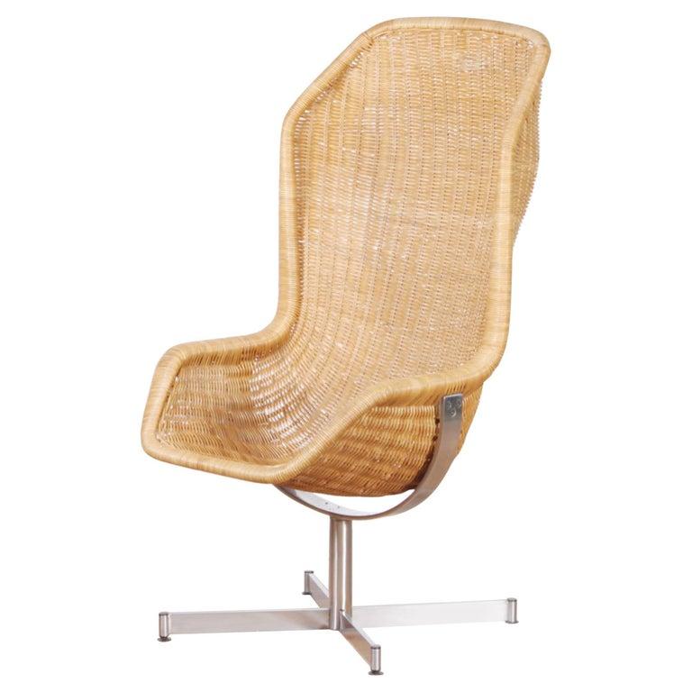 1960s, Swivel Rattan Chair by Dirk Van Sliedregt for Gebroeders Jonkers