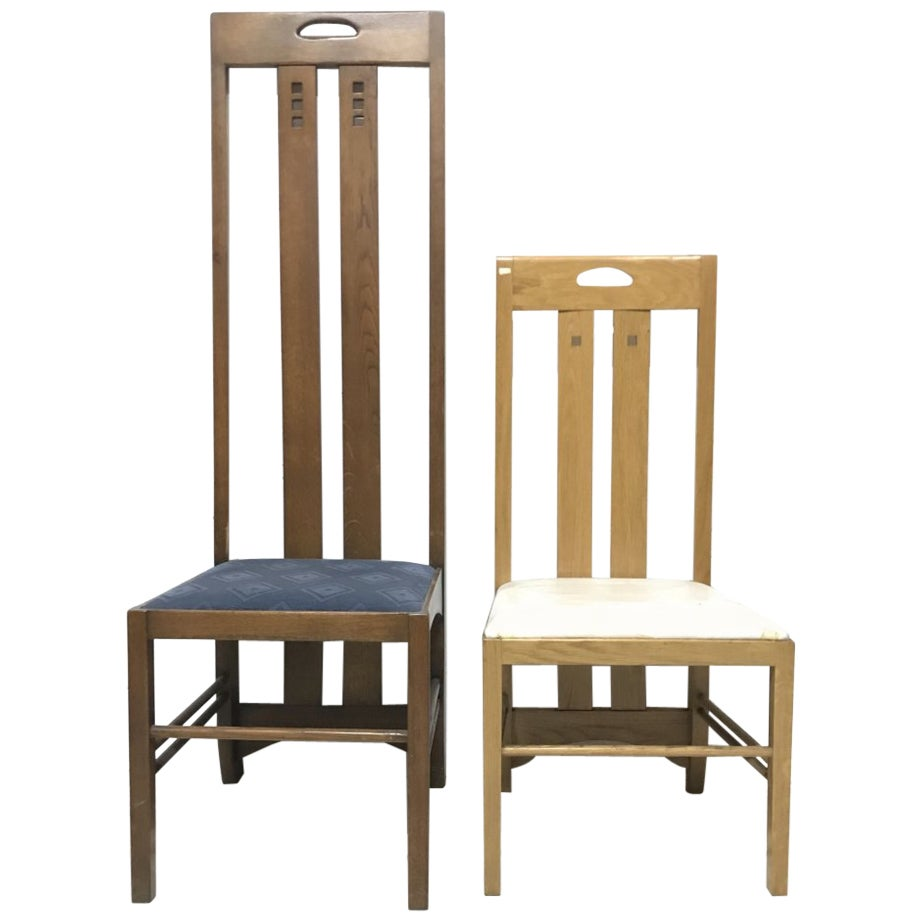 4 Custom-Made Arts & Crafts Oak Chairs in the Style of Charles Rennie Mackintosh