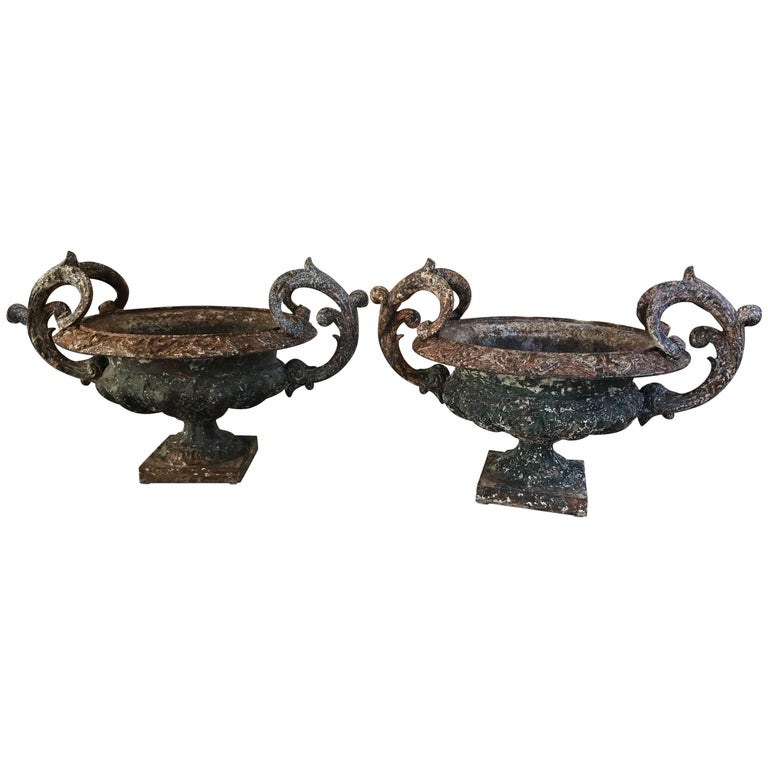 Antique French Cast Iron Urns For Sale
