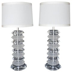 Pair of Frosted and Clear Acrylic Table Lamps