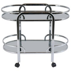 Mid-Century Modern Chrome and Glass Bar Cart