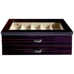 Ebony Box for Nine Watches with Suede and Leather Detail by Agresti
