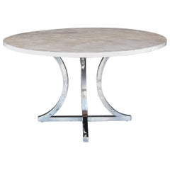 Petrified Wood and Chrome Base Dining Table