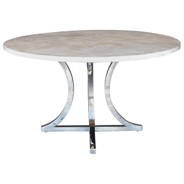 Petrified Wood and Chrome Base Dining Table For Sale at  : 8773563master from www.1stdibs.com size 768 x 768 jpeg 26kB