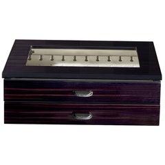 Ebony Box for 24 Cufflinks with Leather Detail by Agresti
