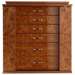 Polished Briarwood and Mahogany Jewel Box with Gold-Plated Hardware by Agresti