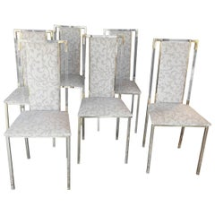 Italian 1960s Set of Six Chairs in Brass and Plexiglass