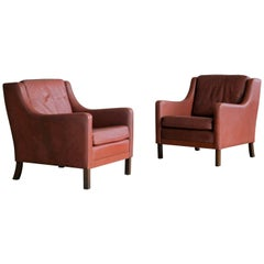 Pair of Danish Børge Mogensen Style Lounge Chairs in Red Brown Leather