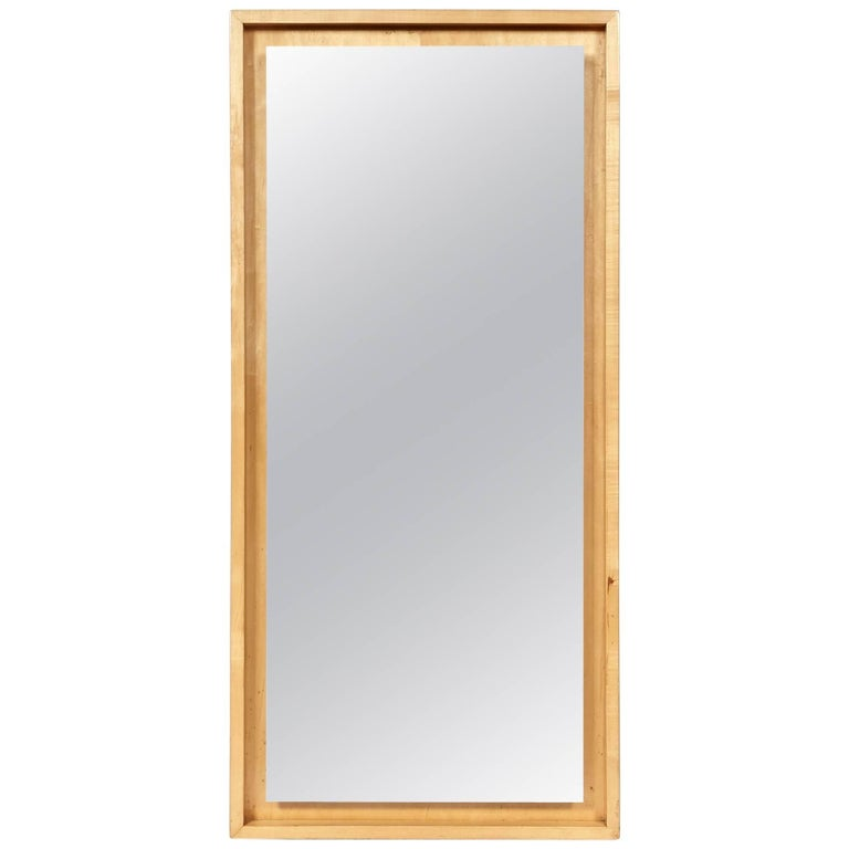Mid-20th Century Inset Maple Wood Mirror Attributed to Conant Ball