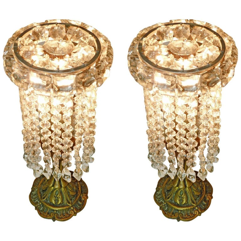 Pair of French Regency Empire in Bronze and Crystal Table Lamps