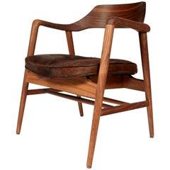 Gunlocke Walnut Side Chair with Cowhide Seat, 1960s