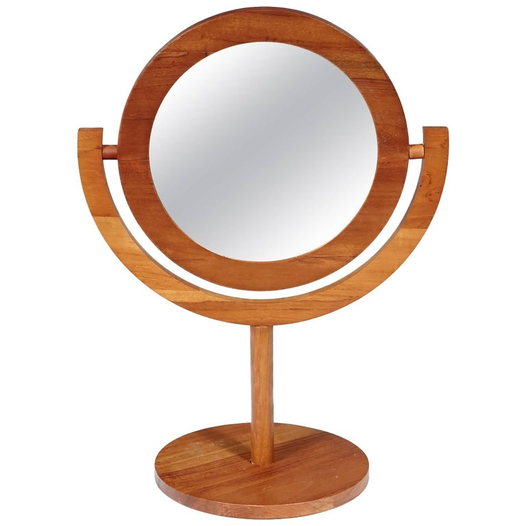Scandinavian Modern Teak Tilting Vanity Mirror Attributed