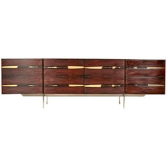 Danish Ib Kofod-Larsen Rosewood and Steel Low Sideboard, 1960s