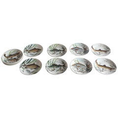 Set of 12 Gien Fish Plates from France
