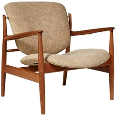 Finn Juhl Teak Danish Lounge Chair Model FD-136, 1950s