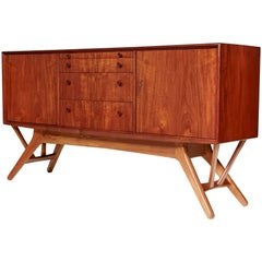 Midcentury Danish Teak and Beechwood Angled Base Credenza