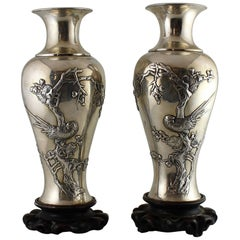Pair of 19th Century Chinese Pao Kuang 'Canton' Silver Vases